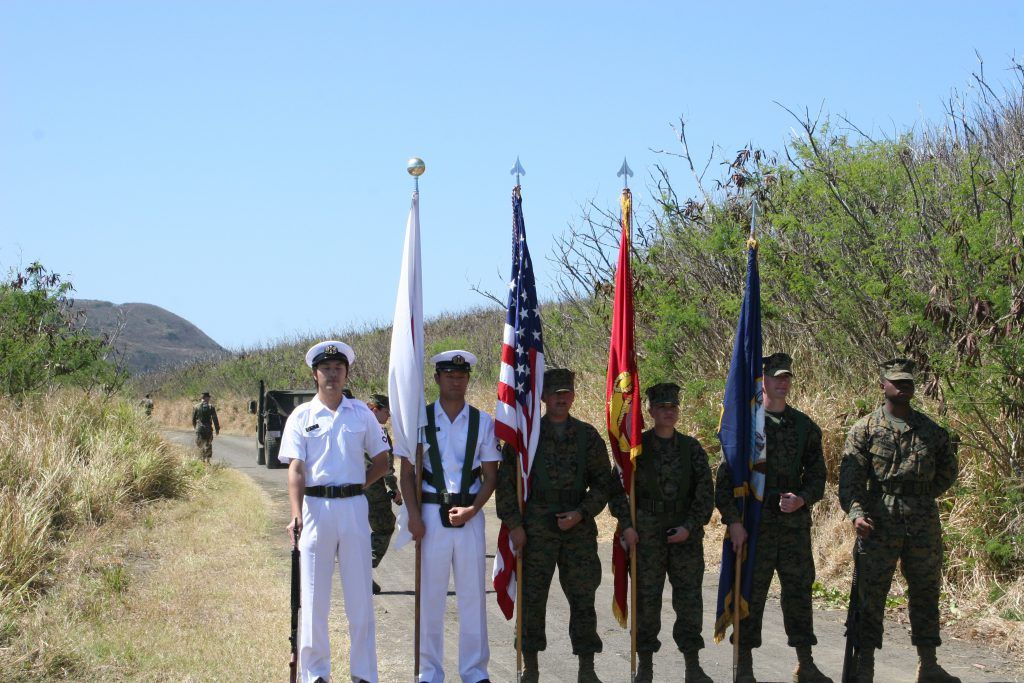 Japanese and American color guard on Iwo Jima