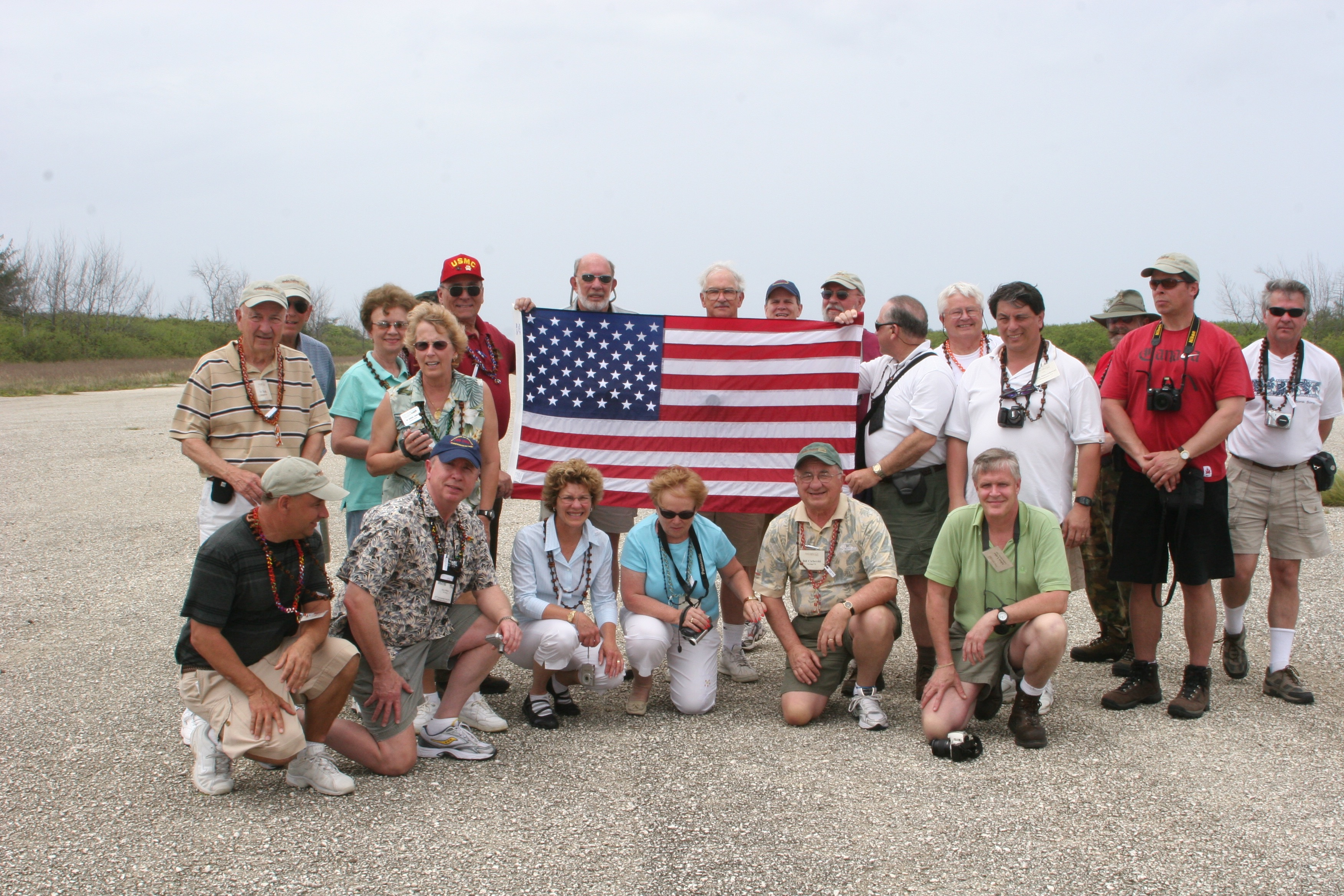 Iwo Jima Tour guests on the runway