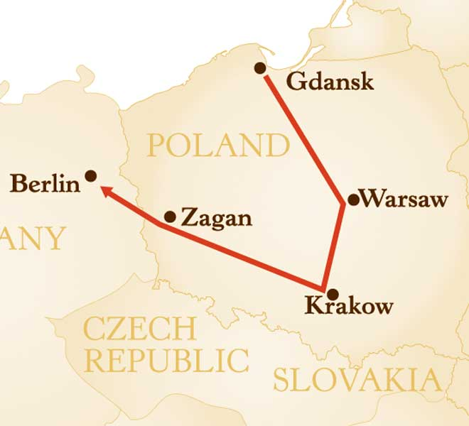 Map for WWII Poland and Germany Tour