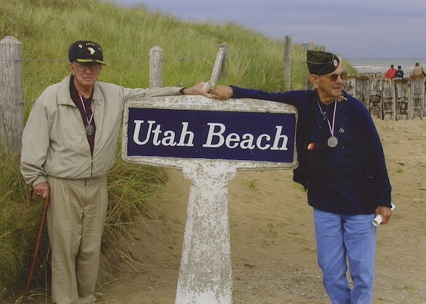 Two D-Day vets at Utah Beach