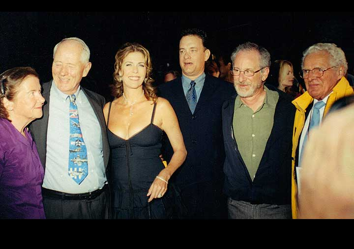 Tom Hanks Stephen Ambrose Steven Spielberg at HBO Band of Brothers event