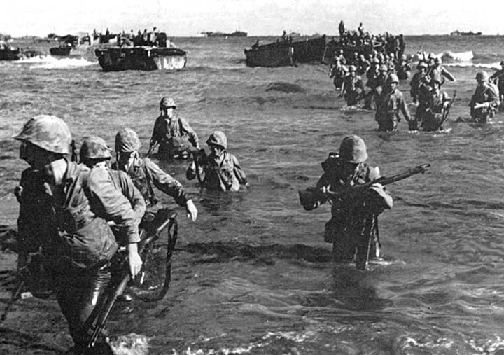 WWII soldiers during D-Day landing