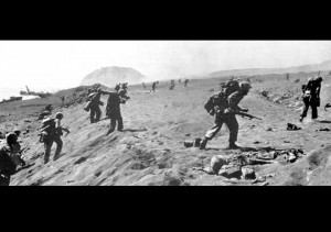 Allied troops at the battle of Iwo Jima