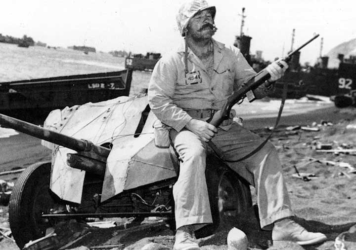 soldier at Iwo Jima with a rifle
