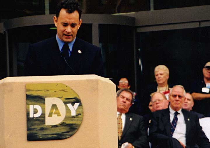 Tom Hanks speaking at the D-Day Museum opening
