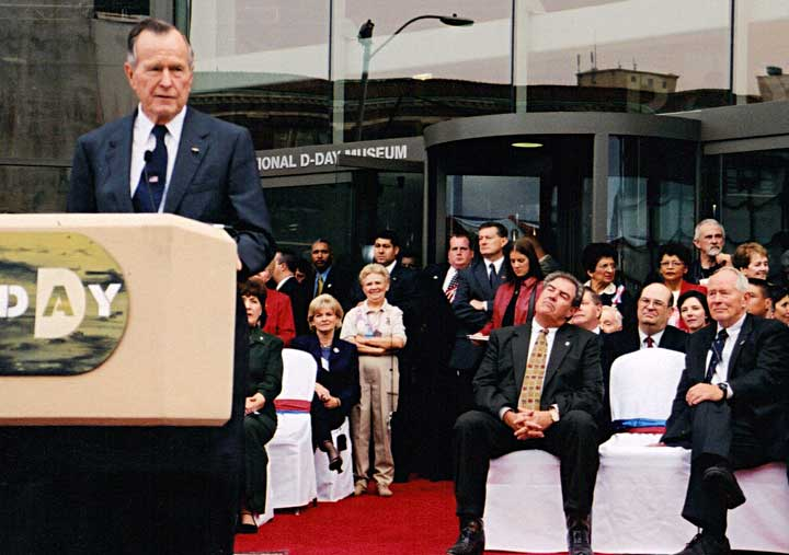 President Bush speaking at the WWII Museum