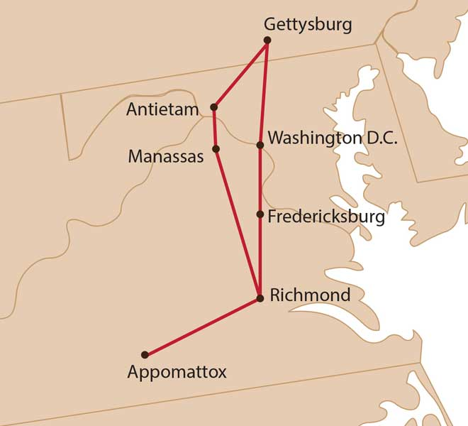 Map for Civil War Tour: This Hallowed Ground