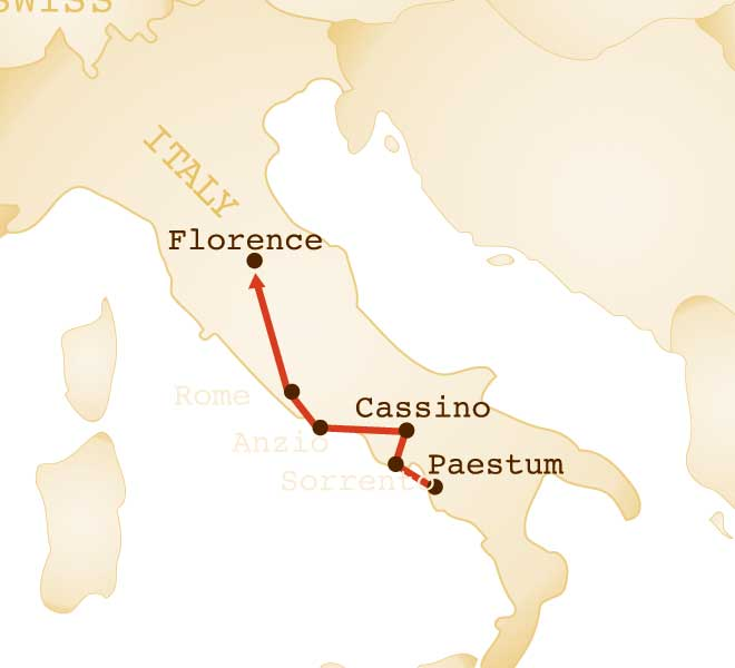 Map for Italian Campaign Tour