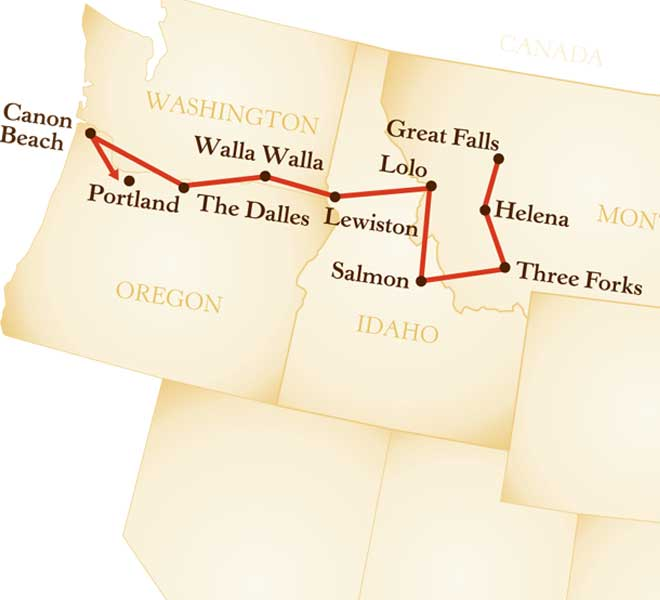 Map for Lewis and Clark Tour: Undaunted Courage