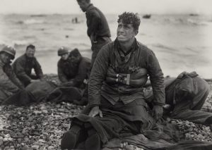 American Soldiers on Normandy beach after D-Day