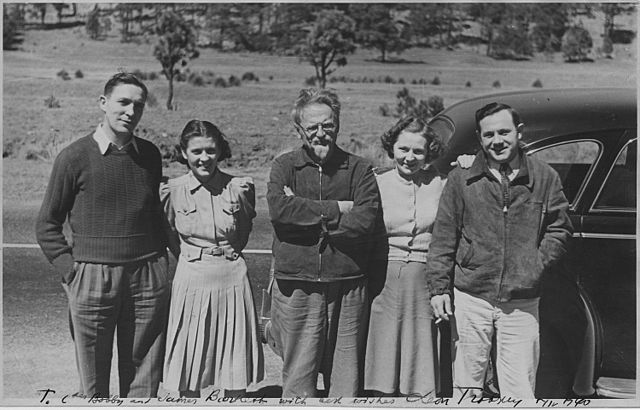 Leon Trotsky with Americans in Mexico
