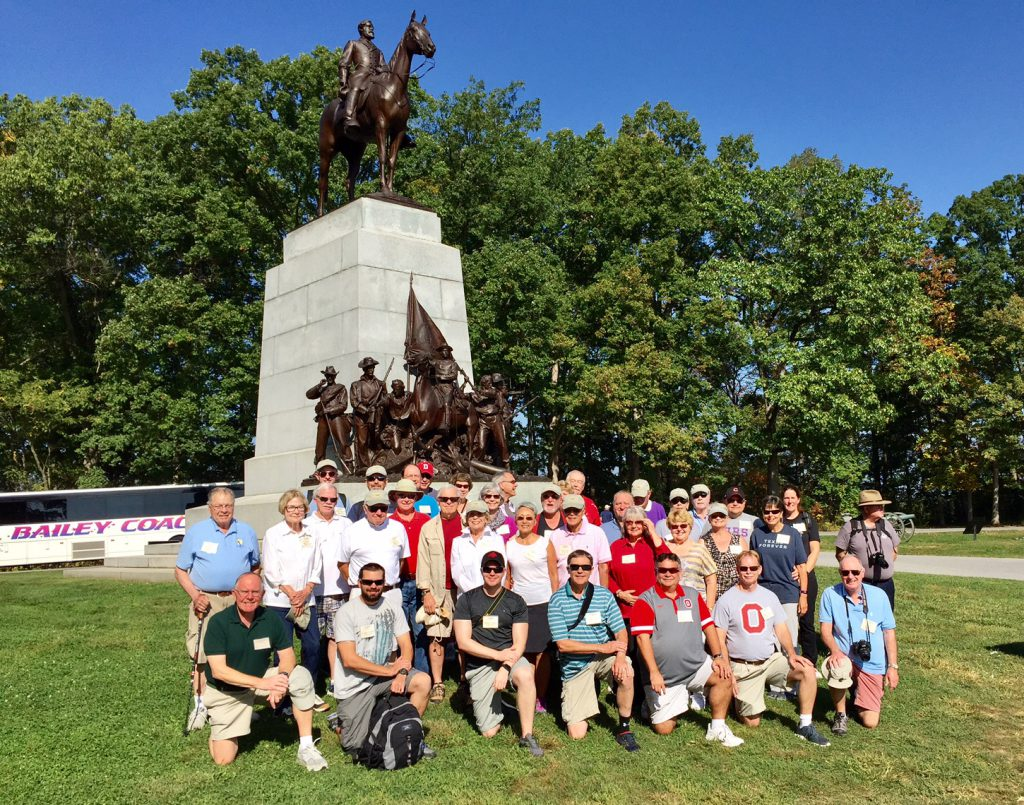Civil War tour group at Gettysburg
