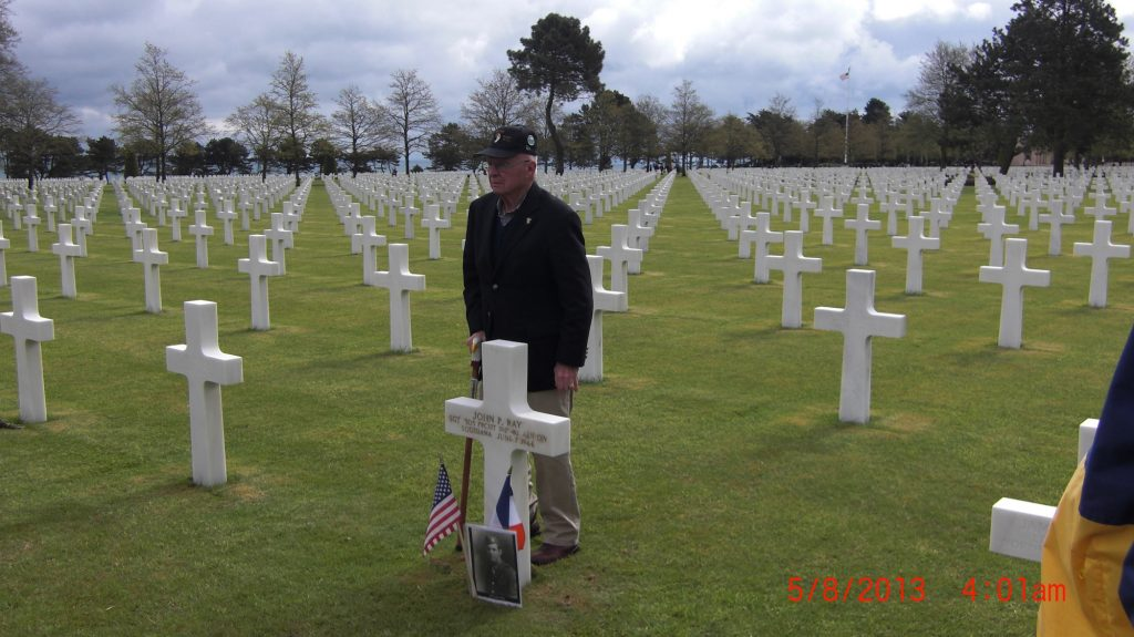 Herb Suerth at Normandy cemetery