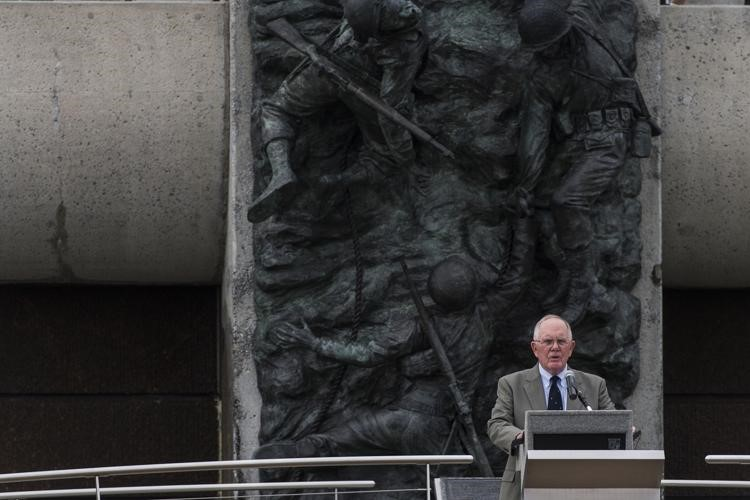 Jack Mountcastle speaking at D-Day Memorial