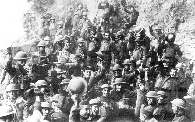 WWI soldiers celebrating Armistice Day