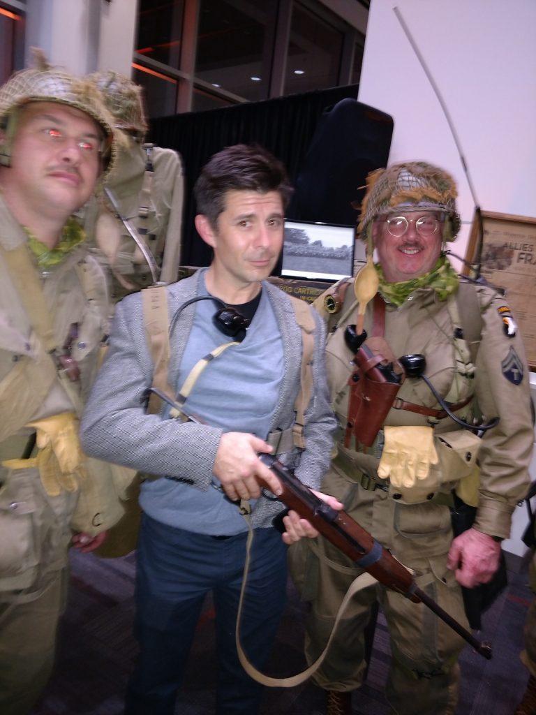 Actor Rick Gomez with Easy Company reenactors