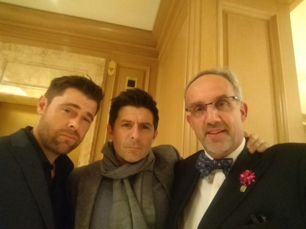 Actors Matthew Leitch and Rick Gomez with George Luz