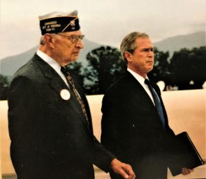 D-Day veteran Bob Slaughter with President George W. Bush