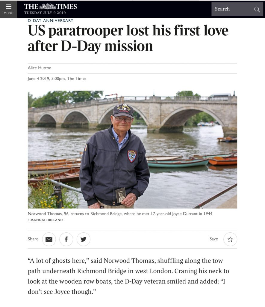 Norwood Thomas article on WWII romance