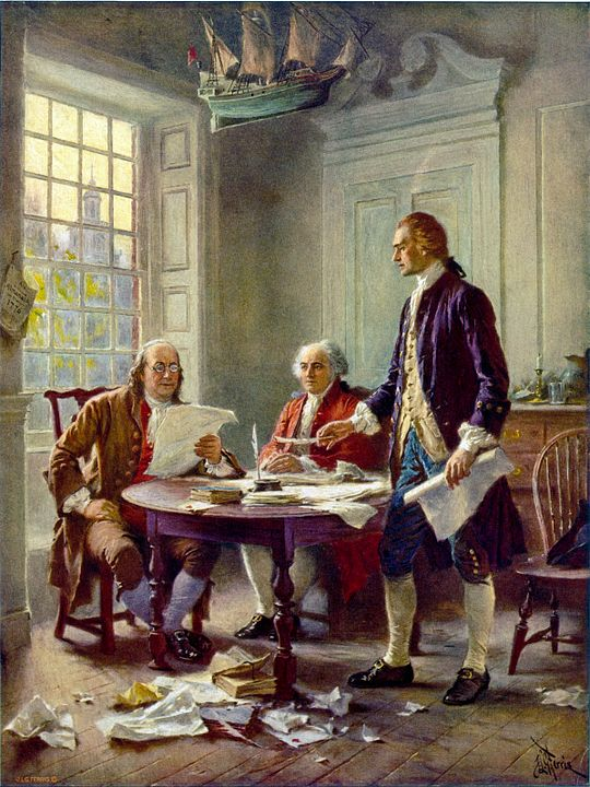 Founding fathers writing declaration of independence