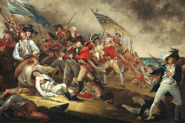 Revolutionary War battle scene