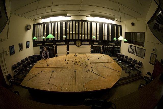 The plotting table inside the Battle of Britain Bunker.