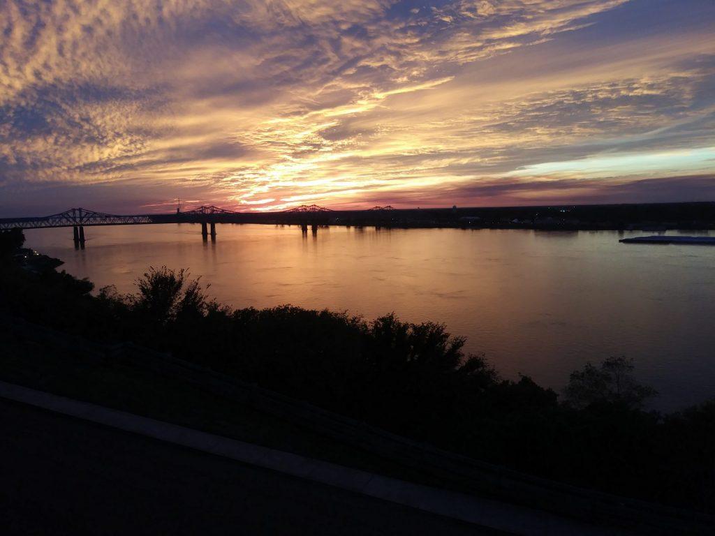Mississippi River at sunset in Natchez
