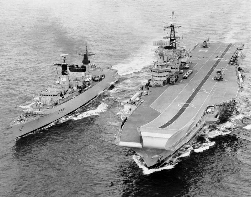 Frigate HMS Broadsword and HMS Hermes Falklands War