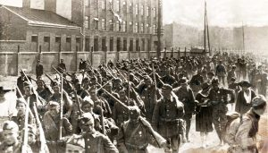 Polish soldiers marching to Battle of Warsaw