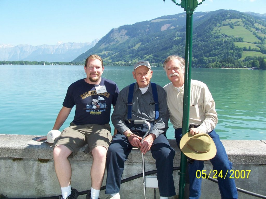 Tour guests with vet Bill Wingett at Zell am See