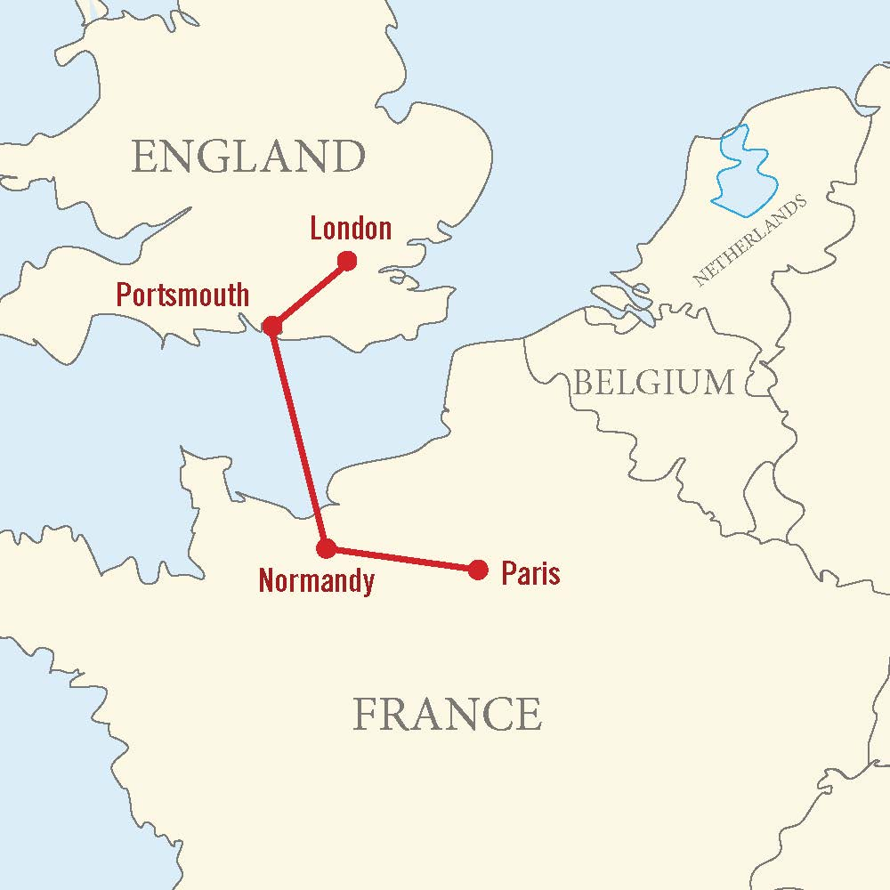 Map for Operation Overlord Tour