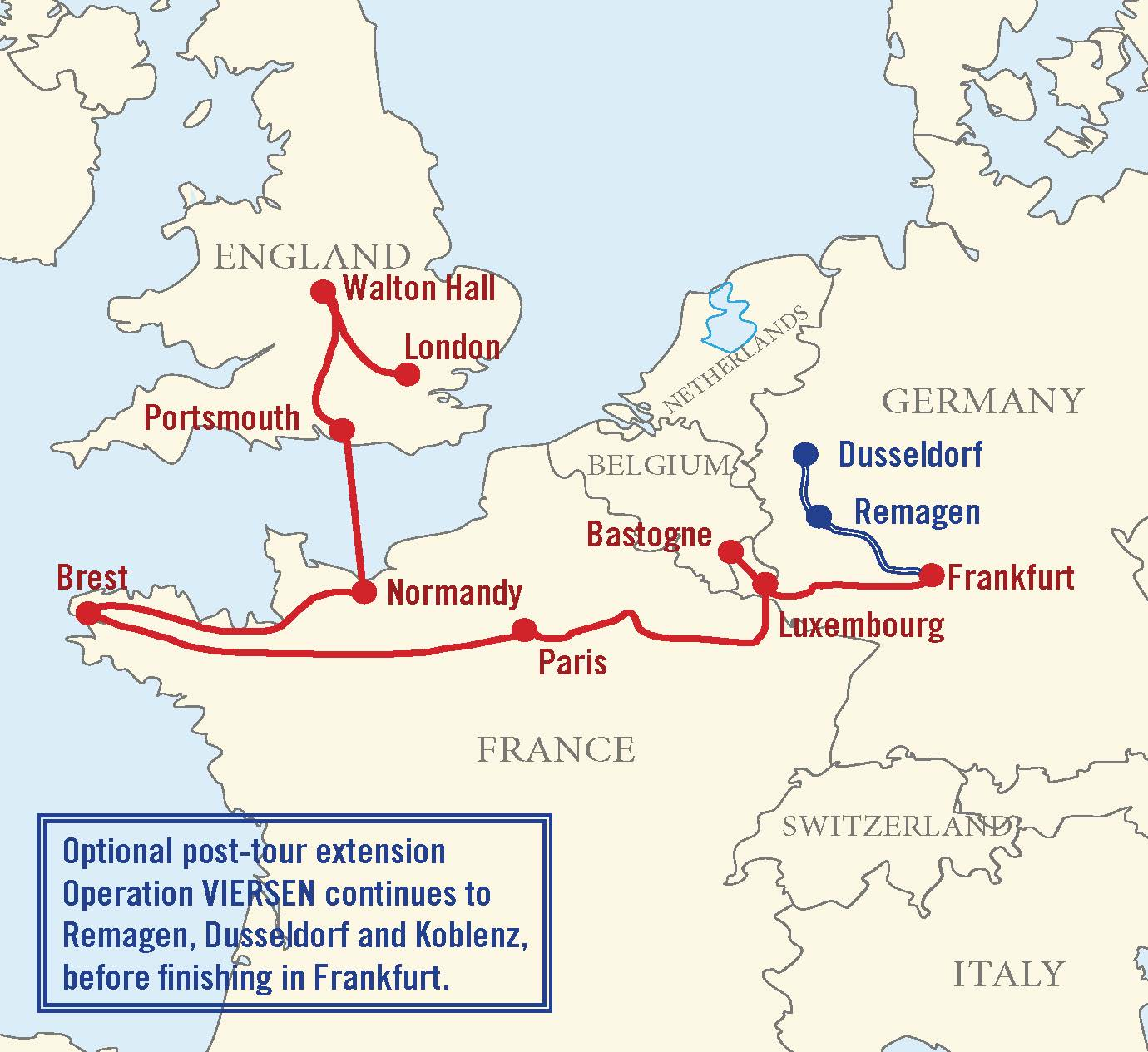 Map for D-Day to the Rhine Tour: Ghost Army of WWII